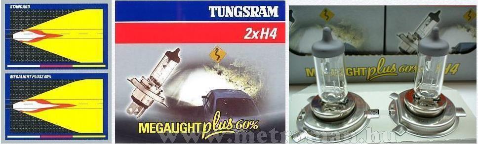 Halogén autó fényszóró izzó H4 Tungsram Megalight +60% 12V 60/55W 50440MPU