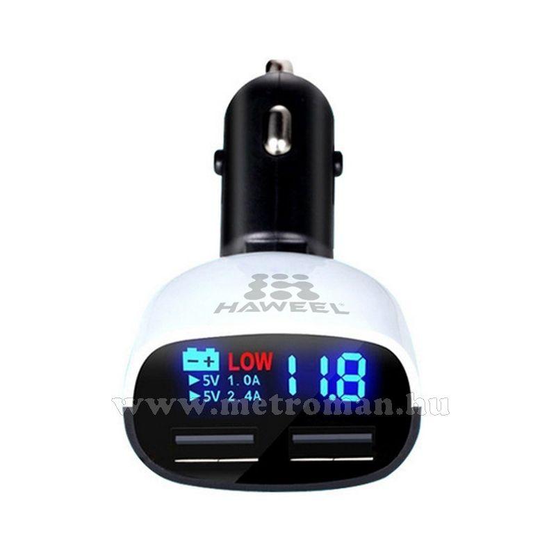 Autós, szivargyújtós USB töltő, feszültségmérő műszer, HWL3020B