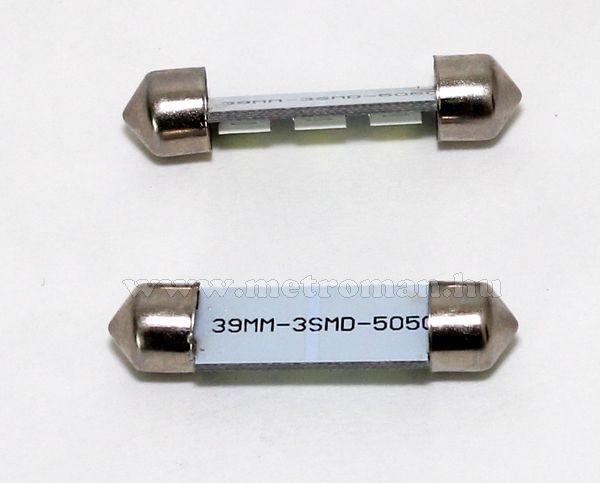 Autós szofita LED izzó, 3 db szuperfényes SMD LED-del, 39MM3SMD5050