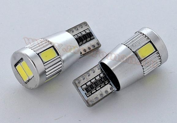 Autós CAN-BUS LED izzó, 6 db SMD LED-del, T106SMD5730LEDCANBUS