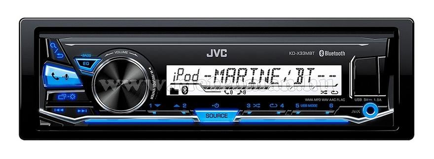 Hajó MP3 USB autórádió, JVC KD-X33MBT Marine