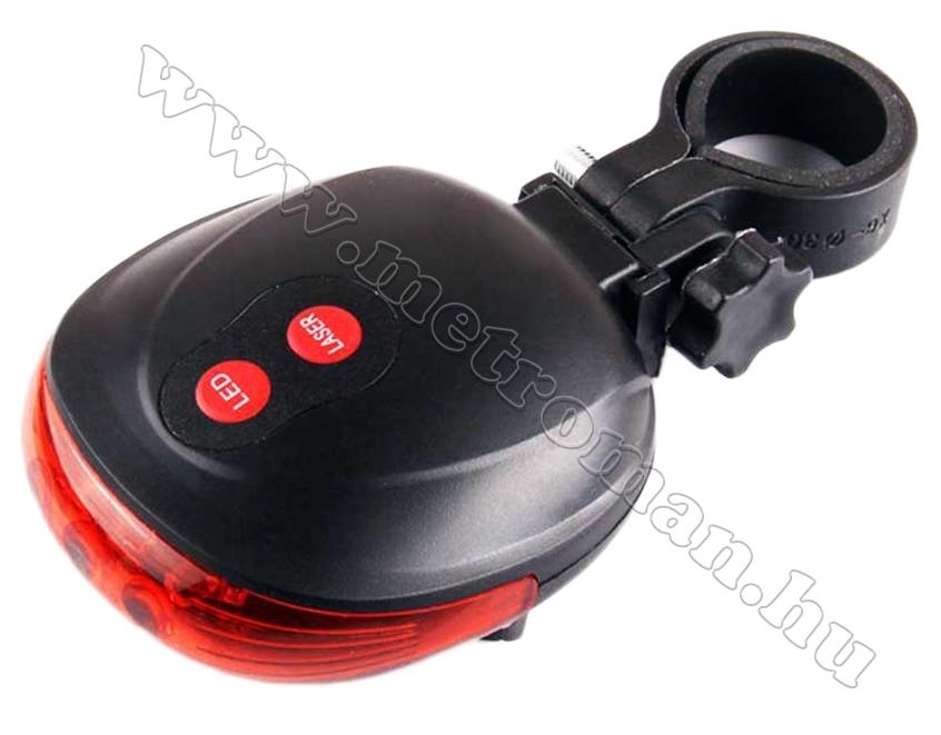 LED-es kerékpár hátsó lámpa, lézer oldalfénnyel, LKK001