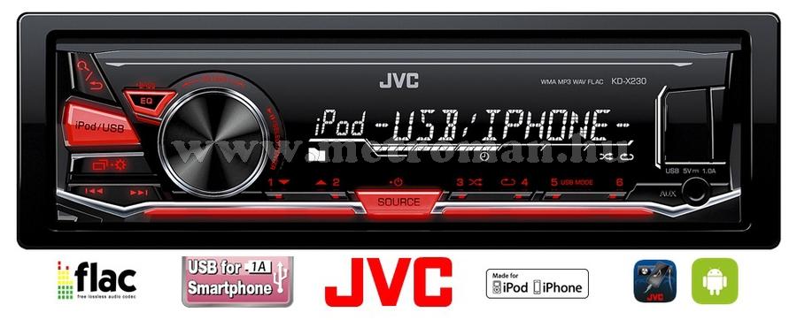MP3 USB autórádió JVC KD-X230