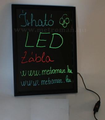 Írható világító LED tábla, 50x70 cm, fekete, plexi előlappal, LED-011