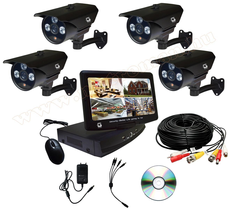 """Komplett biztonsági HD megfigyelő kamera rendszer, DVR rögzítővel  10""""-os TFT LCD monitorral, MD1004+4XC163"""