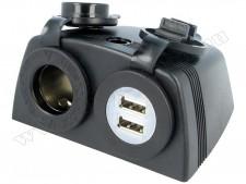 Autós vízmentes szivargyújtó aljzat USB-vel, 142194BHD