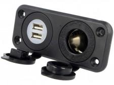 Autós vízmentes szivargyújtó aljzat USB-vel, 142194BPD