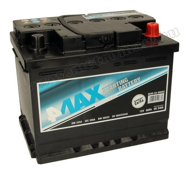 Autó akkumulátor 4MAX Ecoline 12 V / 60 Ah J+