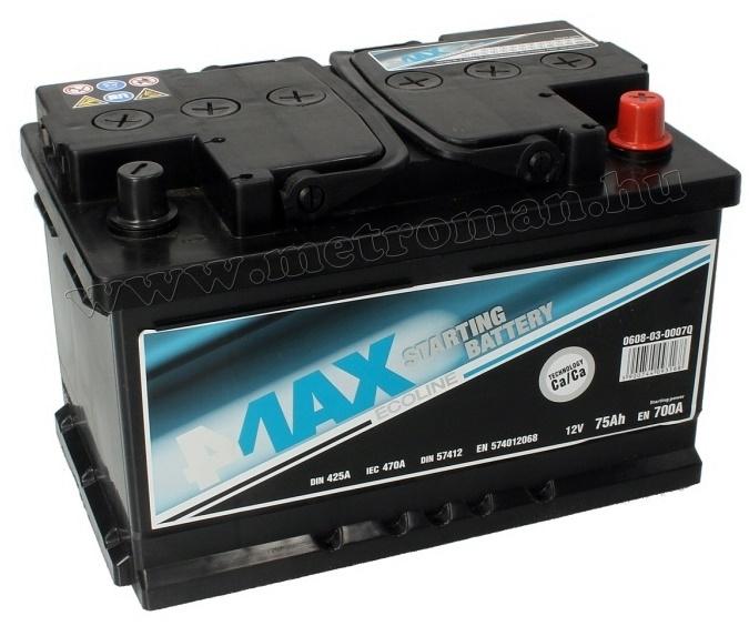 Autó akkumulátor 4MAX Ecoline 12 V / 75 Ah J+