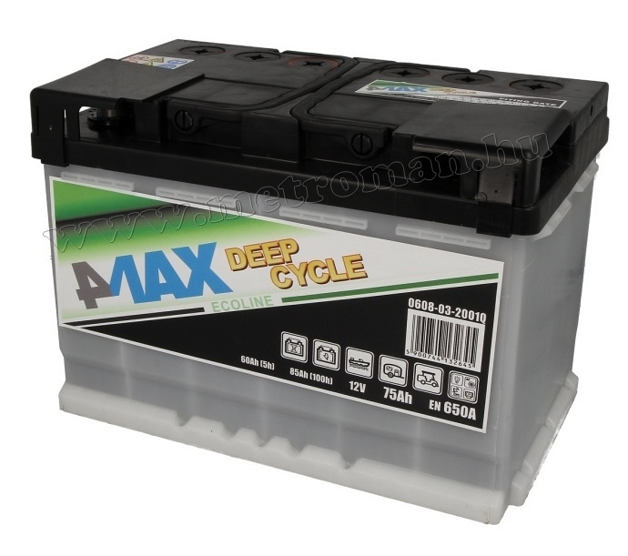 Autó akkumulátor 4MAX Ecoline Deep Cycle 12 V / 75 Ah J+