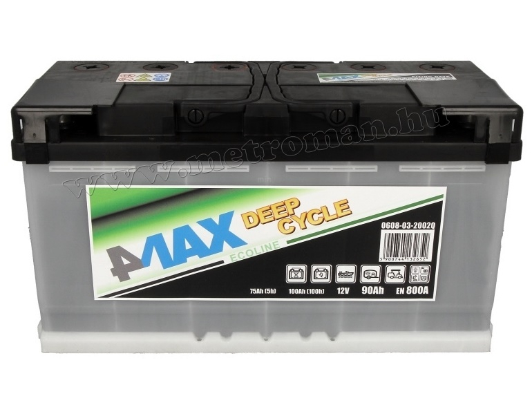 Autó akkumulátor 4MAX Ecoline Deep Cycle 12 V / 90 Ah J+