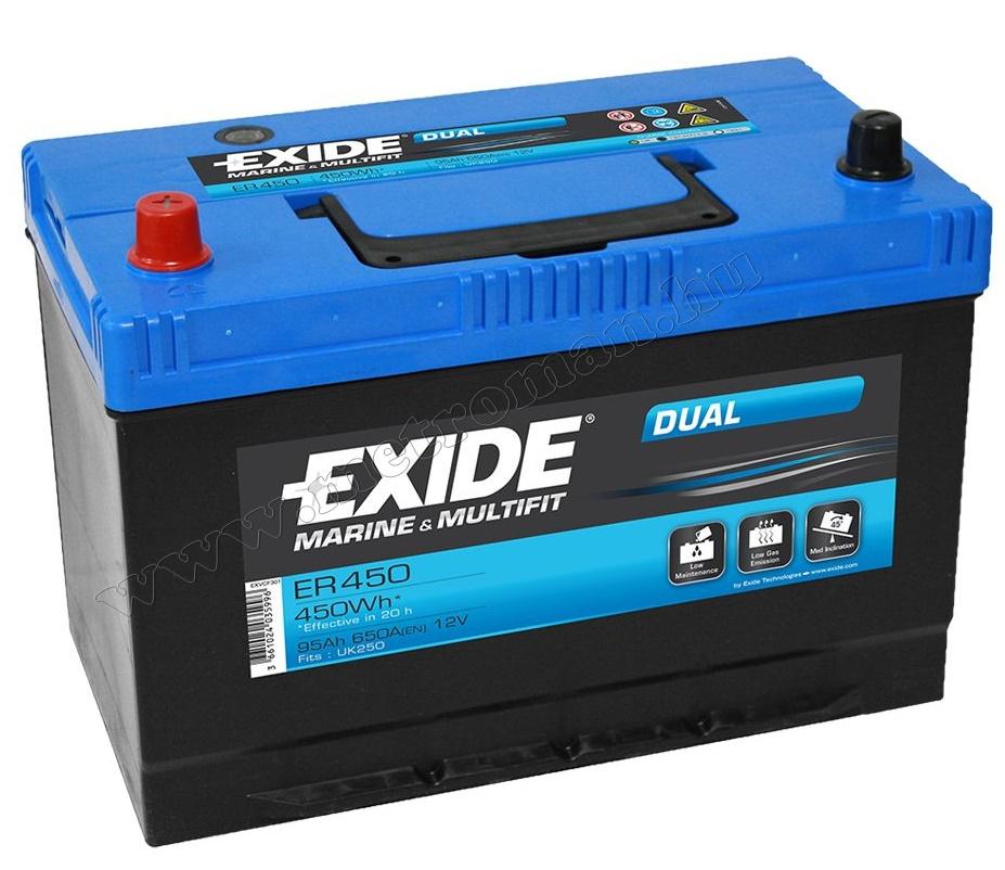 Autó akkumulátor EXIDE Marine ER450 12 V /95 Ah B+