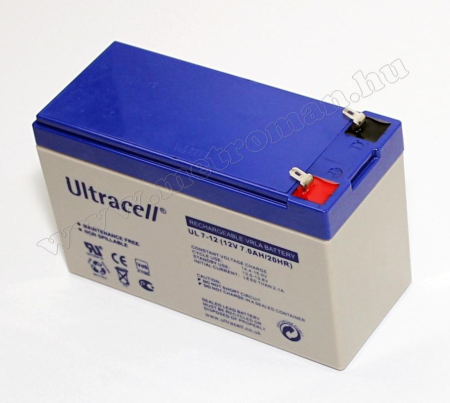 Zselés akkumulátor, Ultracell 12 V - 7  Ah