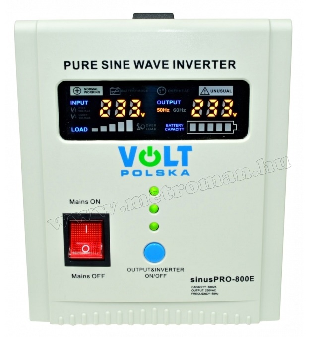 Szinusz inverter és UPS szünetmentes tápegység SinusPro-800