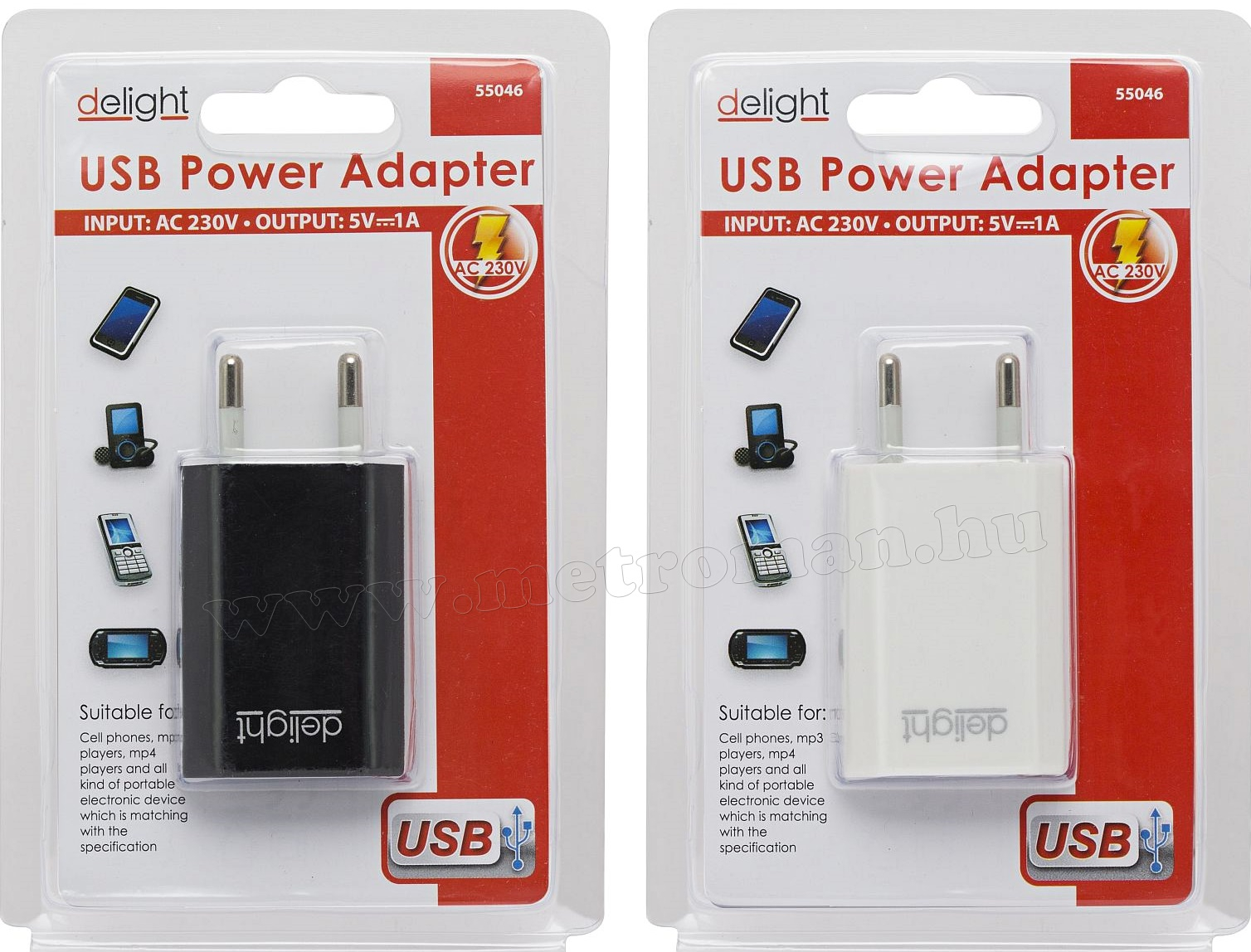 USB töltő 1000 mA DeLight 55046
