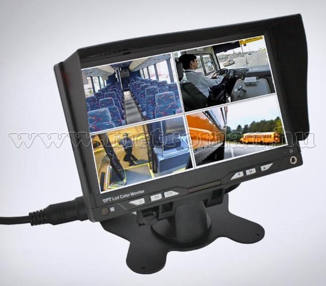 "Autós, 7""-os LCD monitor, 4 videó bemenettel, 12-24 V N7005A"