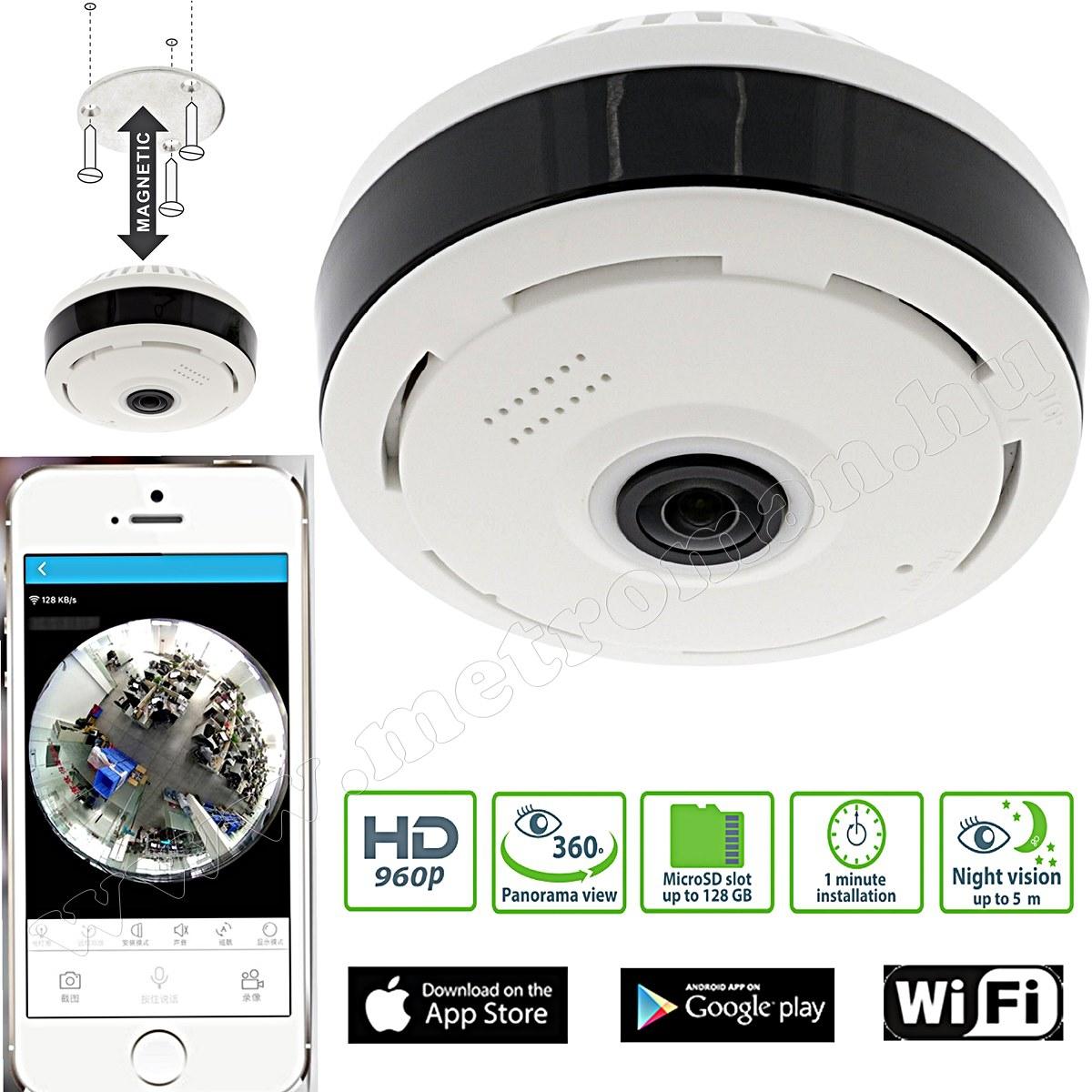 Vezeték nélküli Wifi HD IP Panoráma Okos kamera IPCAM360W1