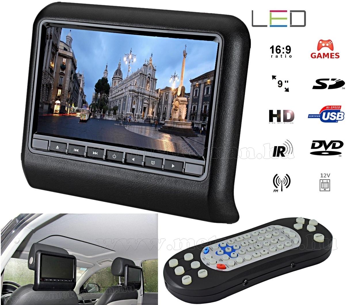 Autós fejtámla LCD monitor DVD/USB/SD MP3 és Multimédia lejátszó MM-9917N
