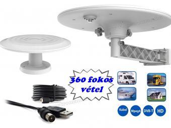 Autó, lakókocsi, lakóautó és kemping DVB-T TV antenna Mistral ANT05-W USB