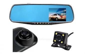 Autós kétkamerás DVR menetrögzítő és tolató kamera, Mlogic MS106DVR-BLACK