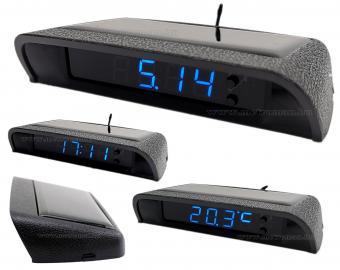 Autós napelemes digitális hőmérő és óra MM966201B-Solar