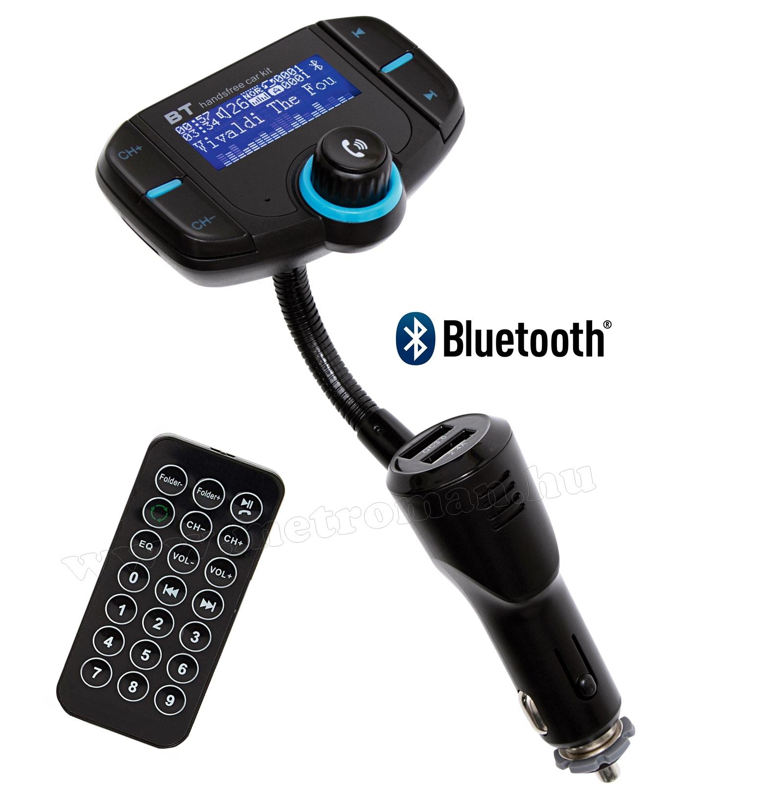 MP3 FM transzmitter és Bluetooth kihangosító és zenelejátszó FMBT XPRO