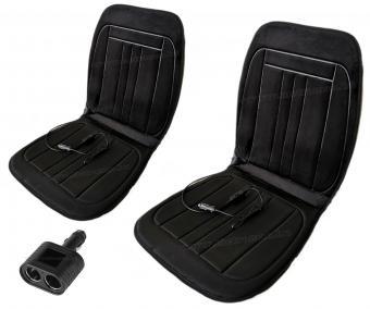 Autós ülésfűtés fűthető ülésborító fekete plüss MM045SZETT Kétüléses csomag