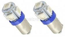 Autós LED izzó kék, 5 db szuperfényes SMD LED-del BA9S5SMD5050K