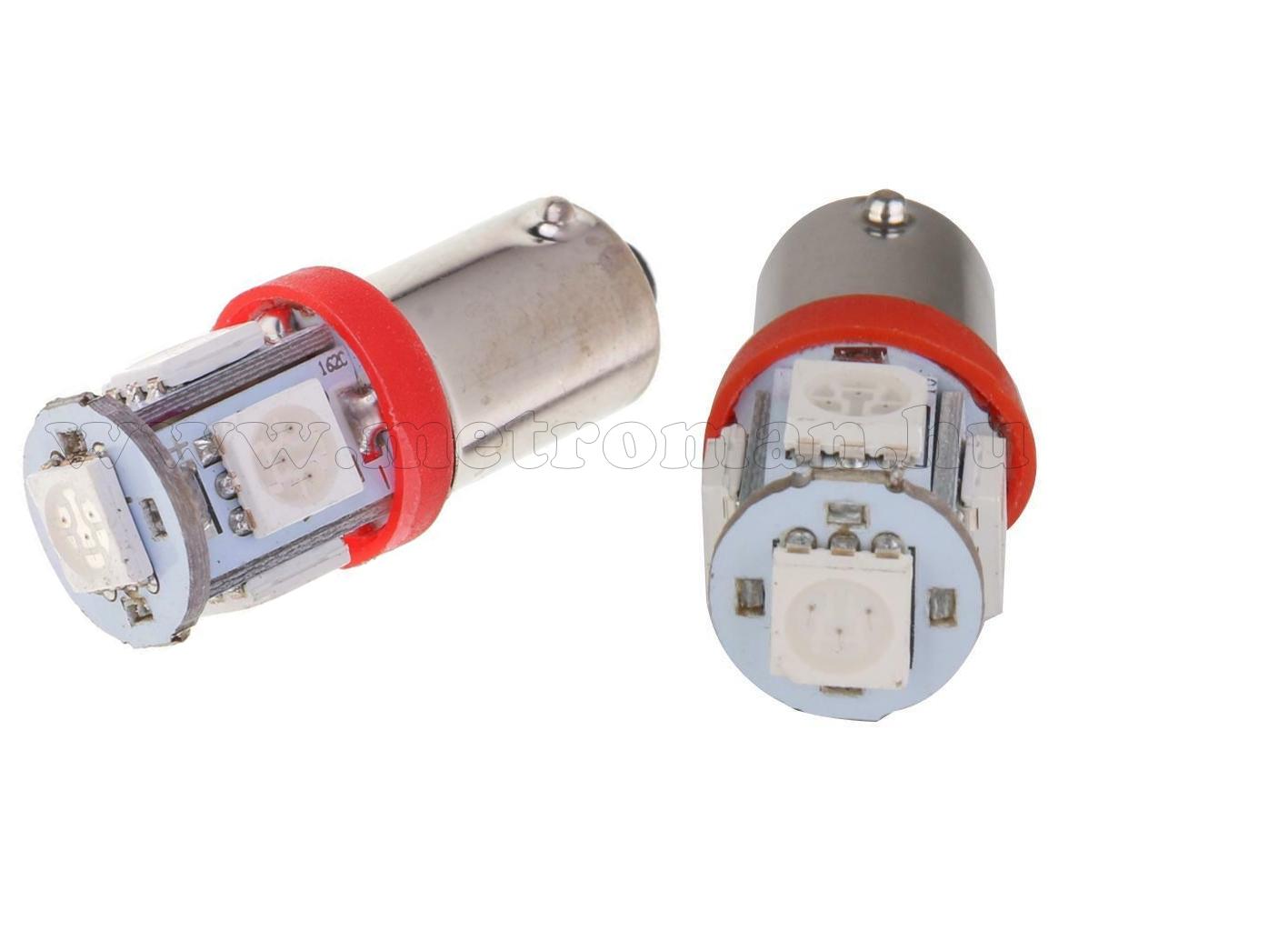 Autós LED izzó piros, 5 db szuperfényes SMD LED-del BA9S5SMD5050P