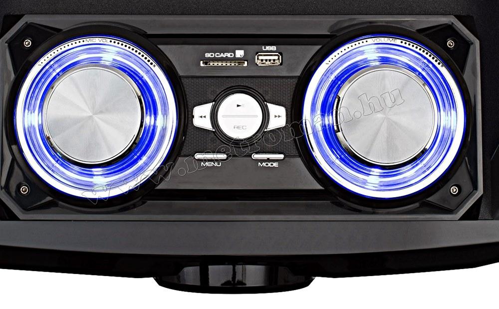 Hordozható USB/SD MP3 BT zene lejátszó Karaoke szett BoomBox BT MAX-M61