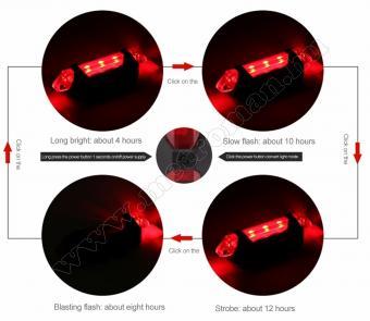 Bicikli, kerékpár LED lámpa, tölthető piros BV14RD