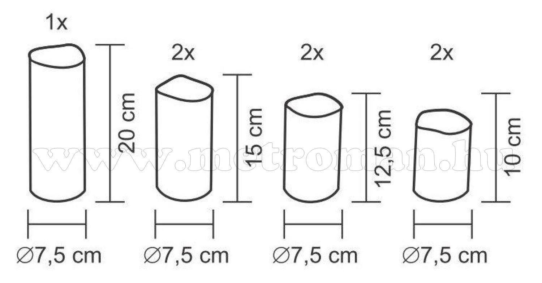 Távirányítható LED-es gyertya szett, kültéri CDS 7