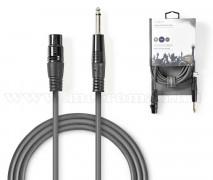 Mikrofon kábel audiokábel XLR3 tűs aljzat - 6,35 mm-es dugó COTH15120GY50