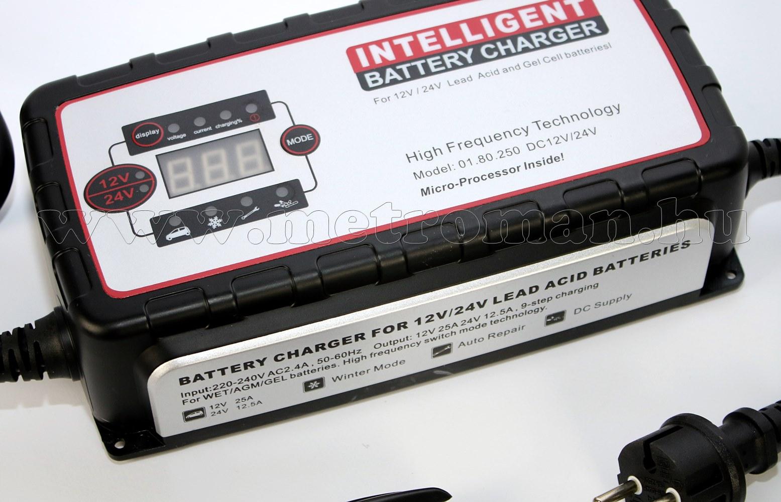 Intelligens automata akkumulátor töltő, csepptöltő 12V/25A 24V/12,5A Carstel 01.80.250