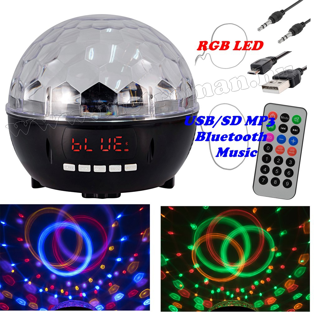RGB LED Magic diszkó gömb és USB/SD Bluetooth MP3 lejátszó DL-600BT
