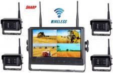 """Ipari kivitelű, vezeték nélküli tolatókamera szett, Sharp Quad LCD 9"""" monitorral és 4 db Sharp Vision tolatókamerával DW900138QC-DW671X4"""