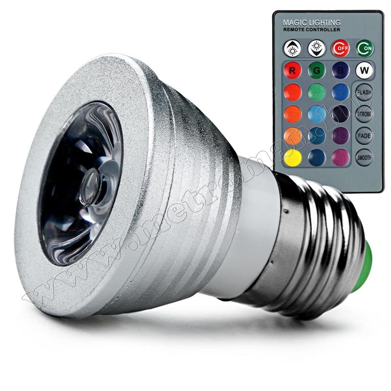 Távirányítós fényerő szabályzós RGB LED izzó MD7