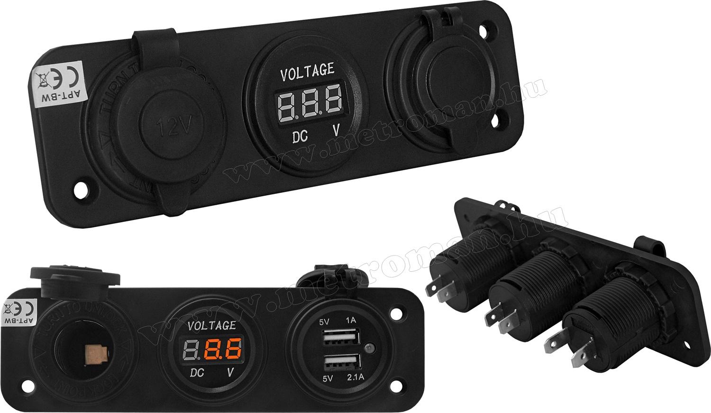 Autós vízmentes szivargyújtó és USB töltő aljzat voltmérővel MM-ET85