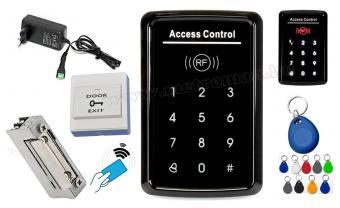 Érintőgombos komplett Kártyás és kódzáras Beléptető szett mágneszárral RFID-M221 EX
