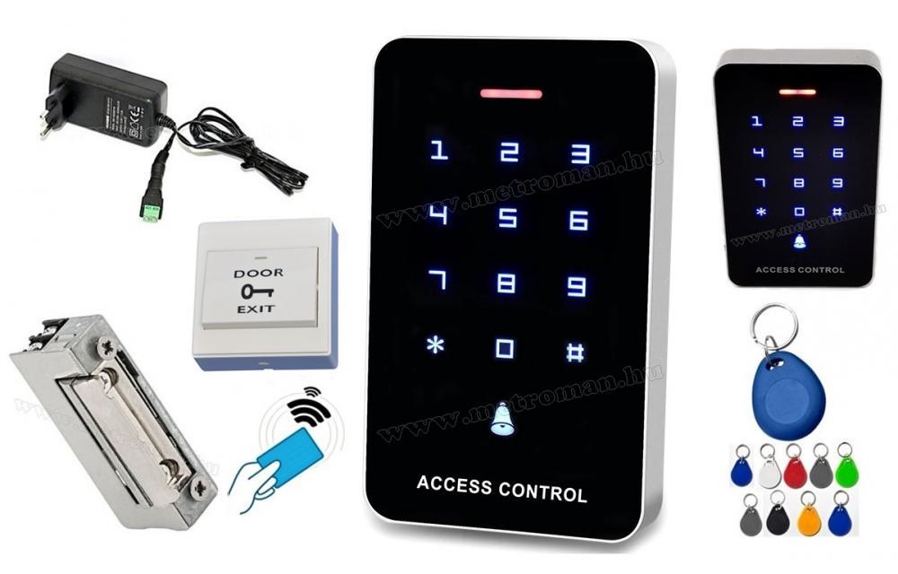 Érintőgombos komplett Kártyás és kódzáras Beléptető szett mágneszárral RFID-M226 EX