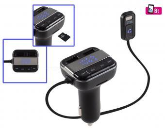 FM transzmitter és Bluetooth kihangosító műszerfalra helyezhető mikrofonnal FMBTMIC