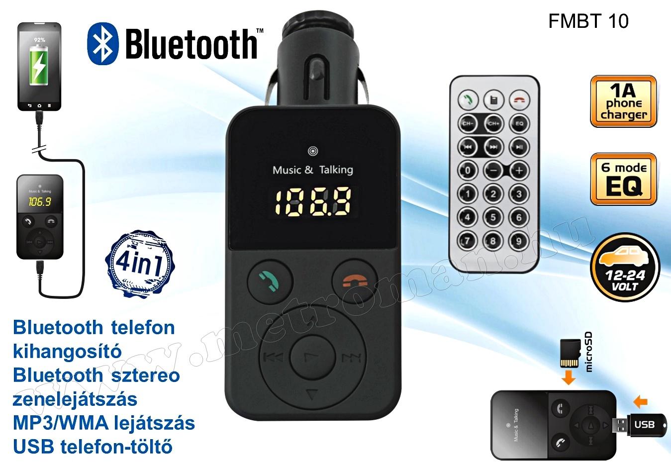MP3 FM transzmitter és Bluetooth kihangosító FMBT 10
