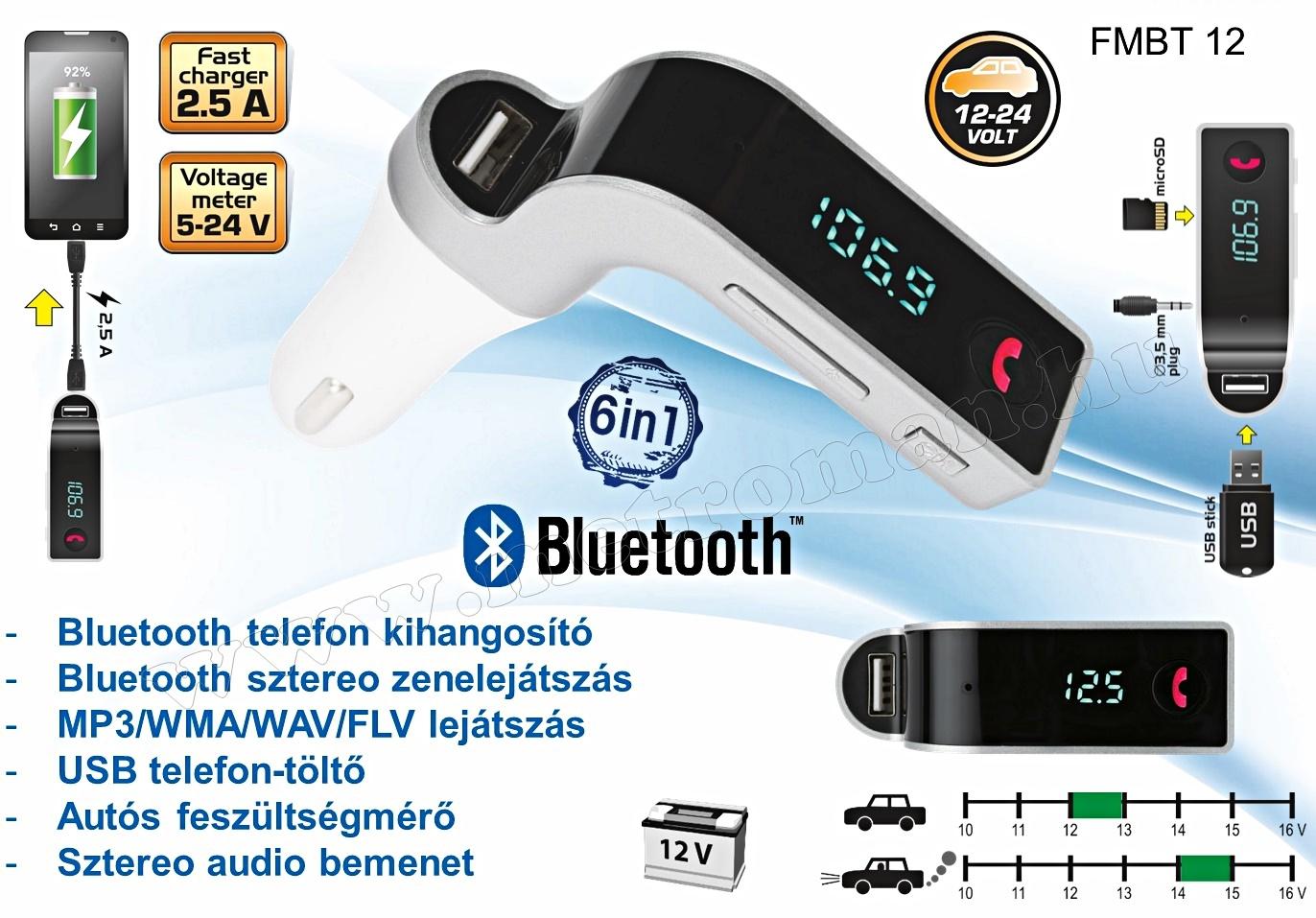 MP3 FM transzmitter és Bluetooth kihangosító FMBT 12