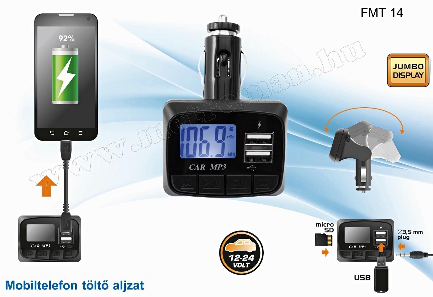 USB/SD MP3 FM Transzmitter FMT 14