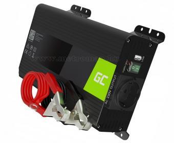 Feszültségátalakító, Szinusz inverter 12/230V 300/600 Watt Green Cell MGC05-12V Sinus