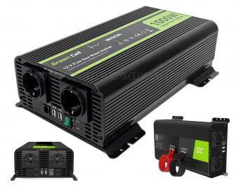 Feszültségátalakító, Szinusz inverter 12/230V 1000/2000 Watt Green Cell MGC09-12V Sinus