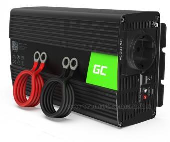 Feszültségátalakító, Szinusz inverter 24/230V 1000/2000 Watt Green Cell MNV18-1000W-24V-Sinus