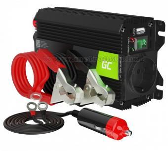 Feszültségátalakító, inverter, 12/230V 300/600 Watt Green Cell MGC01-300W-12V