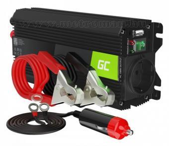 Feszültségátalakító, inverter, 12/230V 500/1000 Watt Green Cell MGC03-500W-12V