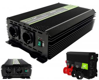 Feszültségátalakító, inverter, 12/230V 2000/4000 Watt Green Cell MGC10-2000W-12V